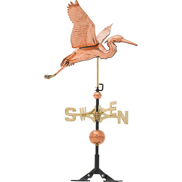"26""L x 28""W x 44 1/2""H Copper Heron Classic Directions Weathervane, Polished"