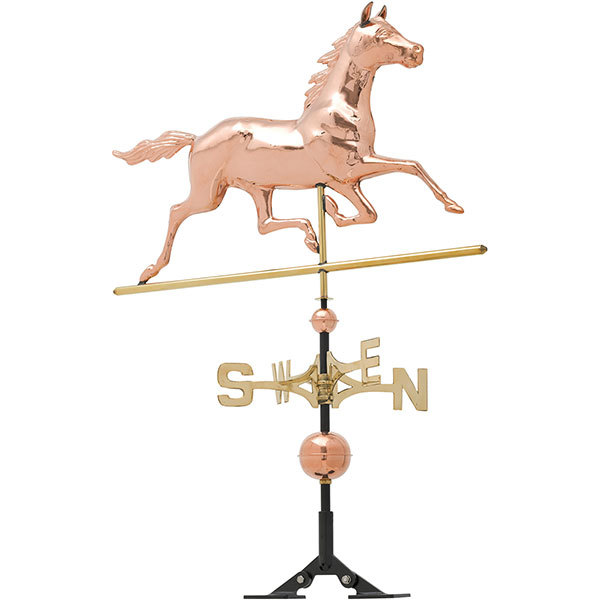 "34""L x 3""W x 40""H Copper Horse Classic Directions Weathervane, Polished"