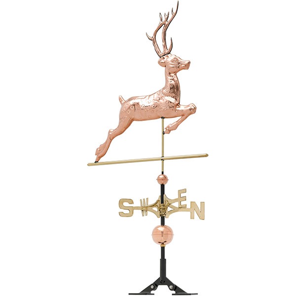 "26""L x 2""W x 52""H Copper Deer Classic Directions Weathervane, Polished"