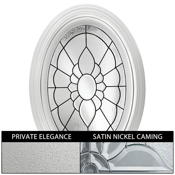 "Rough Opening: 24""W x 36""H (Actual Size: 23 1/4"" x 35 1/4""H) Floral Oval Window with Private Elegance, Satin Nickel"