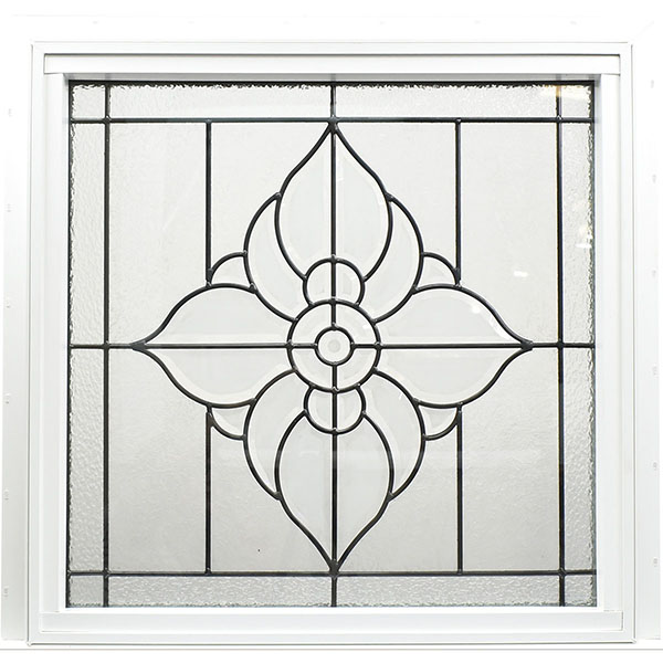 "Rough Opening: 25 1/2""W x 25 1/2""H (Actual Size: 25""W x 25""H) Spring Flower Window, Black Patina"