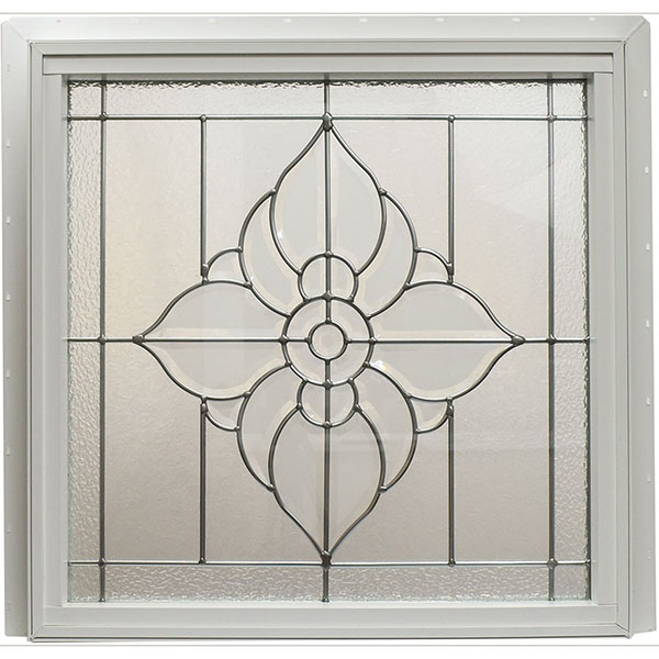 "Rough Opening: 25 1/2""W x 25 1/2""H (Actual Size: 25""W x 25""H) Spring Flower Window, Satin Nickel"