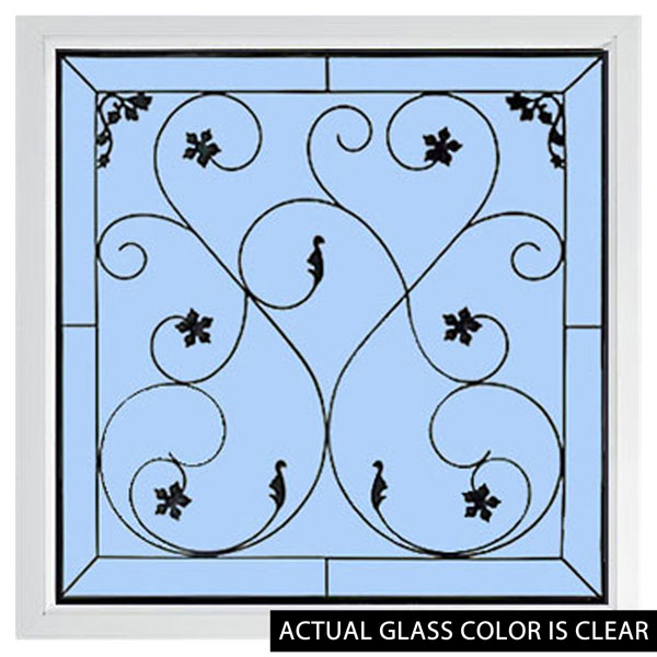 "Rough Opening: 25 1/2""W x 25 1/2""H (Actual Size: 25""W x 25""H) Brilliance Wrought Iron Window"