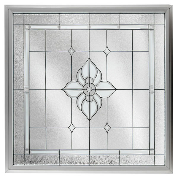 "Rough Opening: 48""W x 48""H (Actual Size: 47 1/2""W x 47 1/2""H) Large Spring Flower Window, Black Patina"