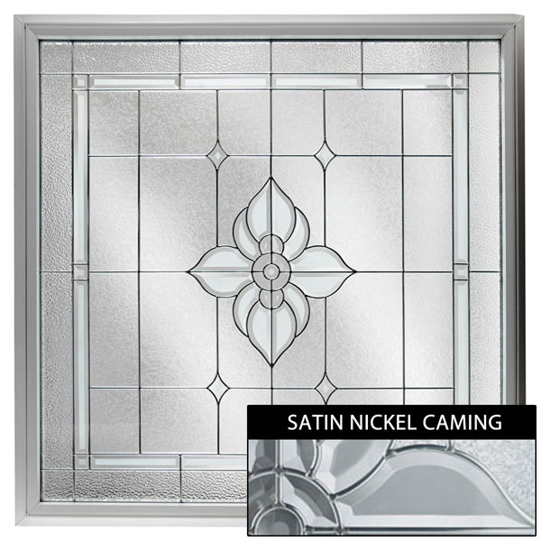 "Rough Opening: 48""W x 48""H (Actual Size: 47 1/2""W x 47 1/2""H) Large Spring Flower Window, Satin Nickel"
