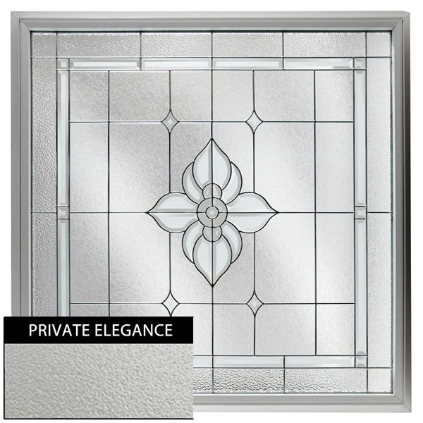 "Rough Opening: 48""W x 48""H (Actual Size: 47 1/2""W x 47 1/2""H) Large Spring Flower Window with Private Elegance, Black Patina"