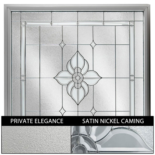 "Rough Opening: 48""W x 48""H (Actual Size: 47 1/2""W x 47 1/2""H) Large Spring Flower Window with Private Elegance, Satin Nickel"