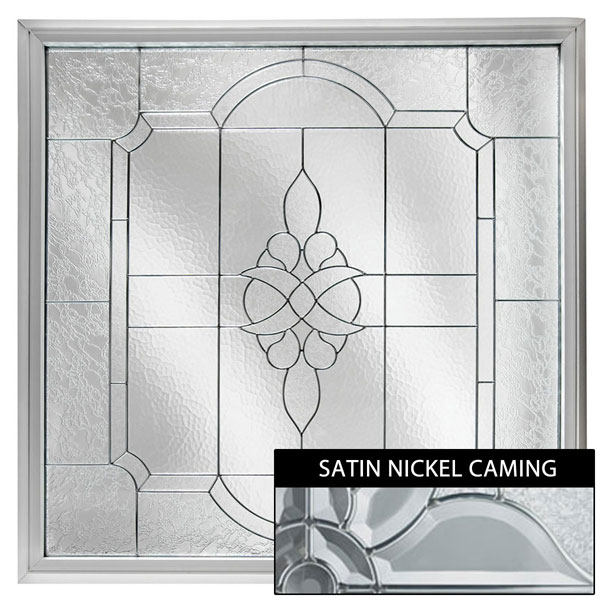 "Rough Opening: 48""W x 48""H (Actual Size: 47 1/2""W x 47 1/2""H) Large Victorian Window, Satin Nickel"