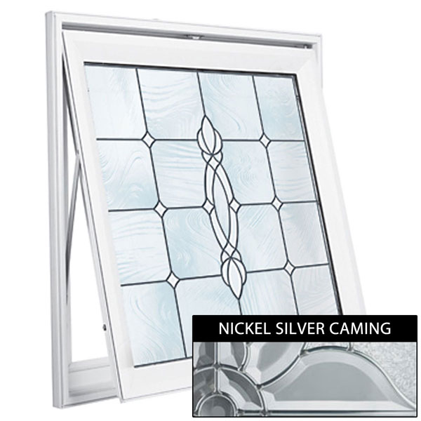 "Rough Opening: 29""W x 29""H (Actual Size: 28 1/2""W x 28 1/2""H) Craftsman Awning Window, Satin Nickel"