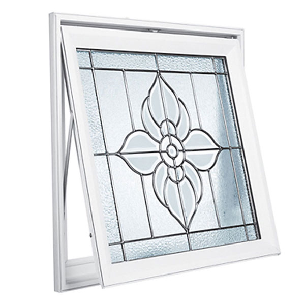 "Rough Opening: 29""W x 29""H (Actual Size: 28 1/2""W x 28 1/2""H) Spring Flower Awning Window, Black Patina"