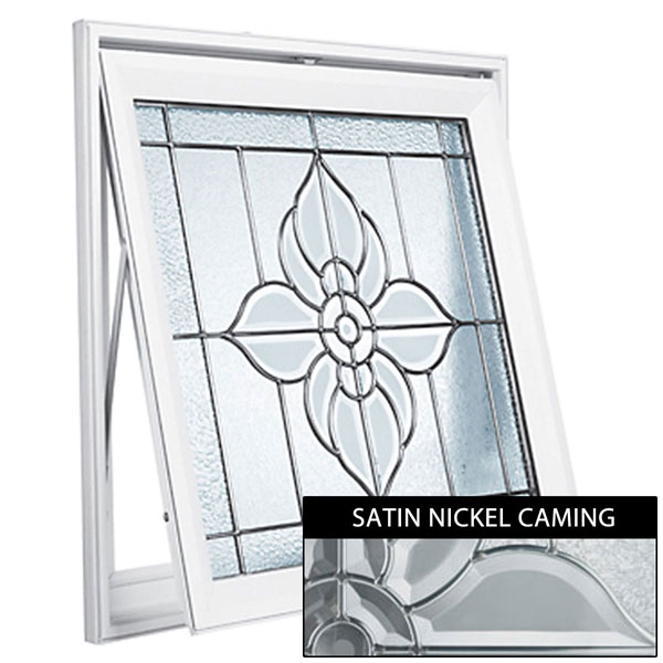 "Rough Opening: 29""W x 29""H (Actual Size: 28 1/2""W x 28 1/2""H) Spring Flower Awning Window, Satin Nickel"