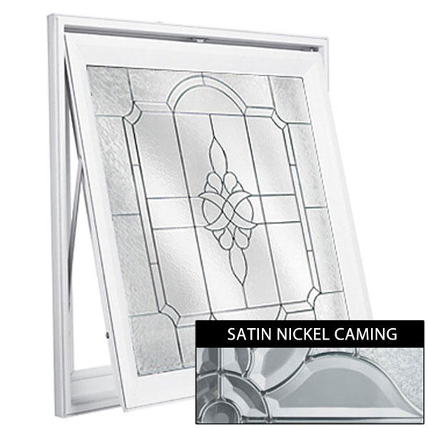 "Rough Opening: 29""W x 29""H (Actual Size: 28 1/2""W x 28 1/2""H) Victorian Awning Window with Private Elegance, Satin Nickel"