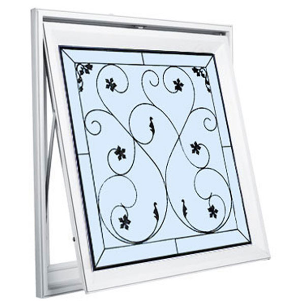 "Rough Opening: 29""W x 29""H (Actual Size: 28 1/2""W x 28 1/2""H) Brilliance Wrought Iron Awning Window"