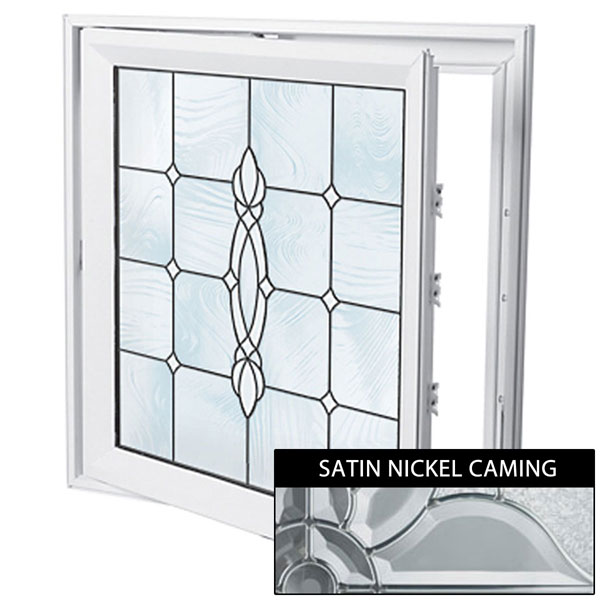 "Rough Opening: 29""W x 29""H (Actual Size: 28 1/2""W x 28 1/2""H) Craftsman Casement Window, Satin Nickel"