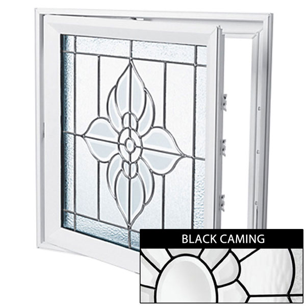 "Rough Opening: 29""W x 29""H (Actual Size: 28 1/2""W x 28 1/2""H) Spring Flower Casement Window, Black Patina"