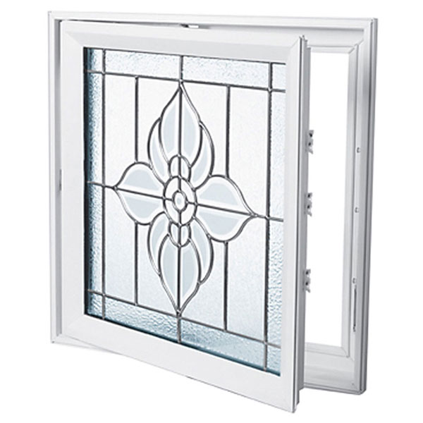 "Rough Opening: 29""W x 29""H (Actual Size: 28 1/2""W x 28 1/2""H) Spring Flower Casement Window, Satin Nickel"