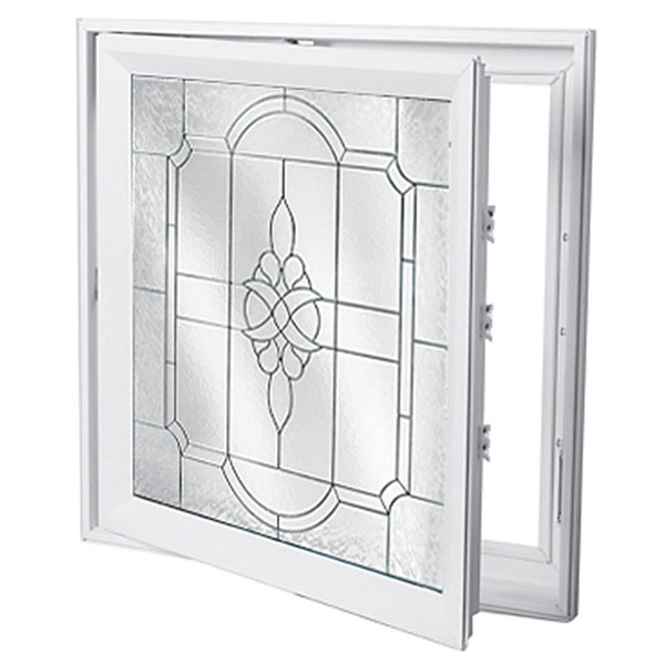 "Rough Opening: 29""W x 29""H (Actual Size: 28 1/2""W x 28 1/2""H) Victorian Casement Window with Private Elegance, Black Patina"