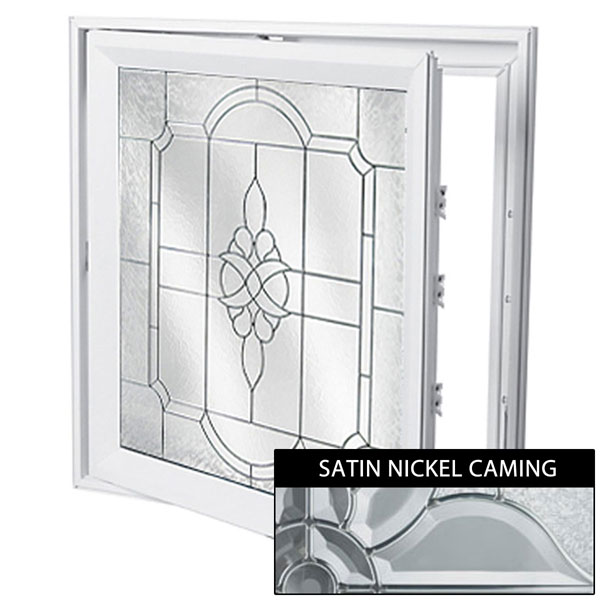 "Rough Opening: 29""W x 29""H (Actual Size: 28 1/2""W x 28 1/2""H) Victorian Casement Window with Private Elegance, Satin Nickel"