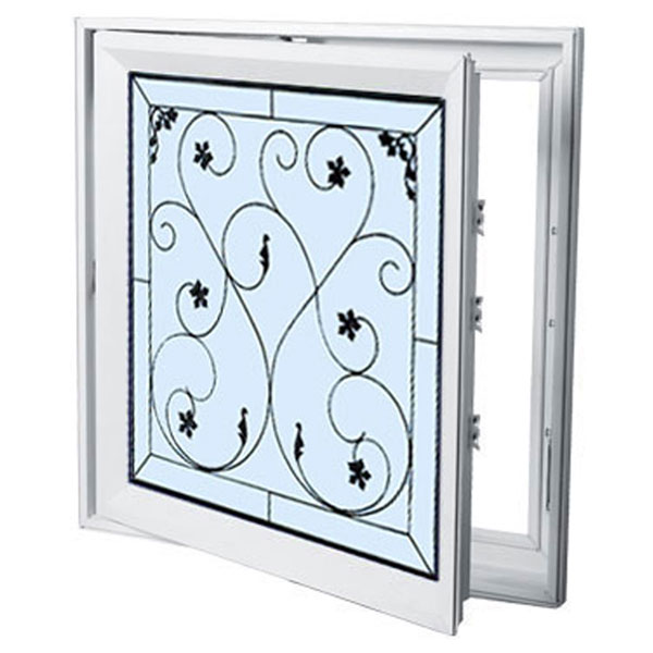 "Rough Opening: 29""W x 29""H (Actual Size: 28 1/2""W x 28 1/2""H) Brilliance Wrought Iron Casement Window"