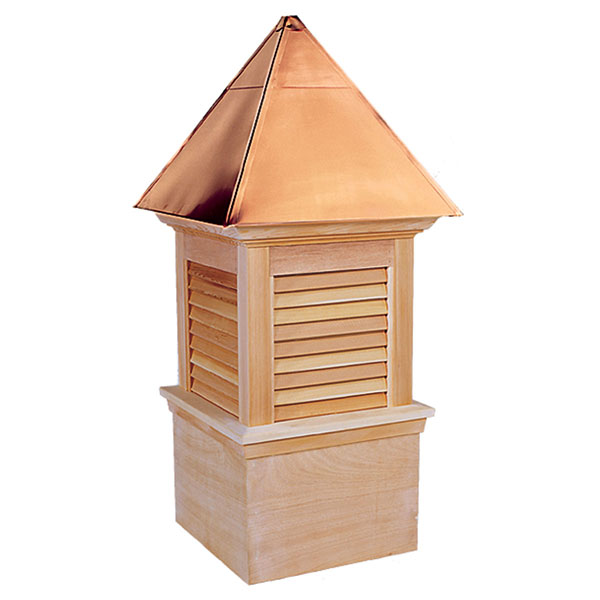 Western Red Cedar Stephenson Newport & Hampton Louver Cupola with Copper Roof