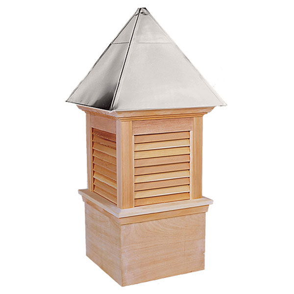 Western Red Cedar Stephenson Newport & Hampton Louver Cupola with Aluminum Roof