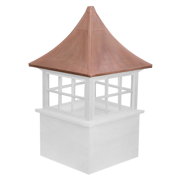 Vinyl Stephenson Governor 6-Lite Glass Window Cupola with Copper Roof