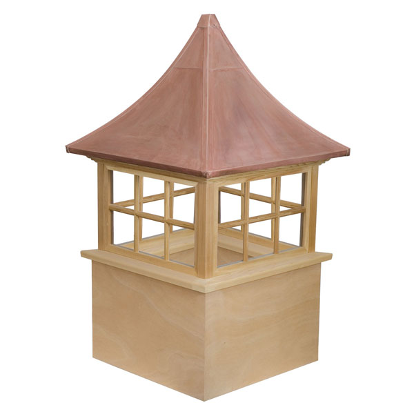 Western Red Cedar Stephenson Governor 6-Lite Glass Window Cupola with Copper Roof