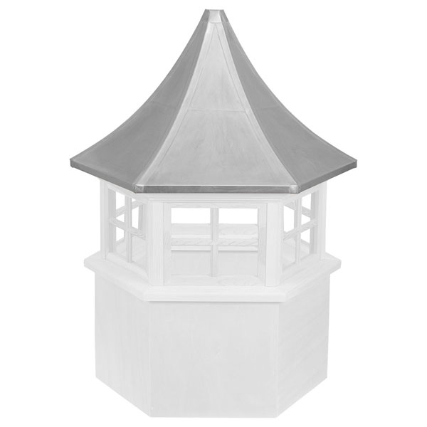 Vinyl Stephenson Presidential Hexagon 4-Lite Glass Window Cupola with Aluminum Roof