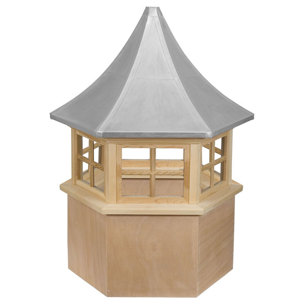 Western Red Cedar Stephenson Presidential Hexagon 4-Lite Glass Window Cupola with Aluminum Roof