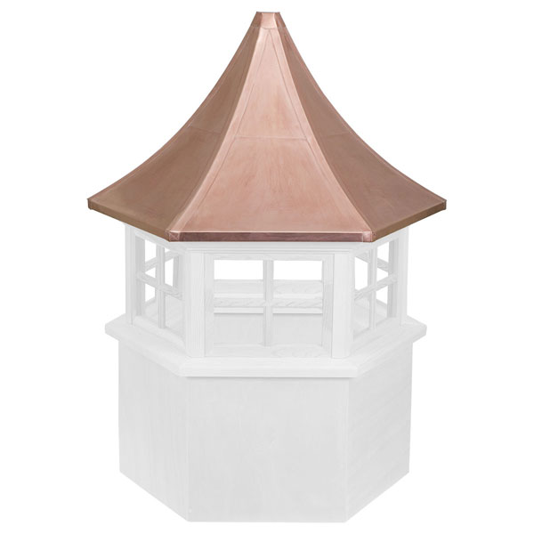 Vinyl Stephenson Presidential Hexagon 4-Lite Glass Window Cupola with Copper Roof