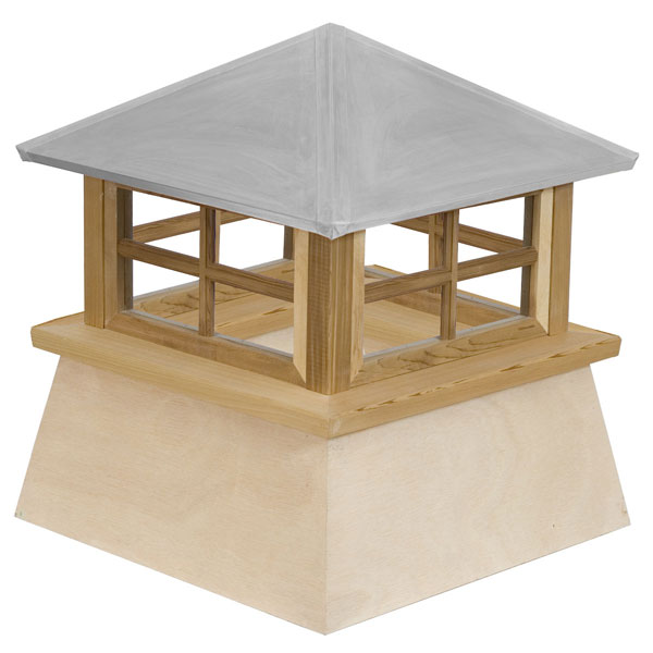 Western Red Cedar Stephenson Manchester 4-Lite Glass Window Cupola with Aluminum Roof
