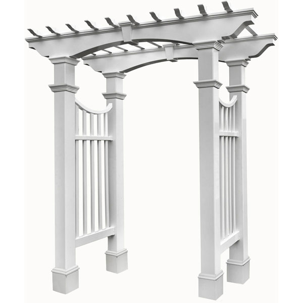 "Devonshire Arbor with trim, White, Dimensions: 59""W x 33 5/8""D x 94 1/4""H"