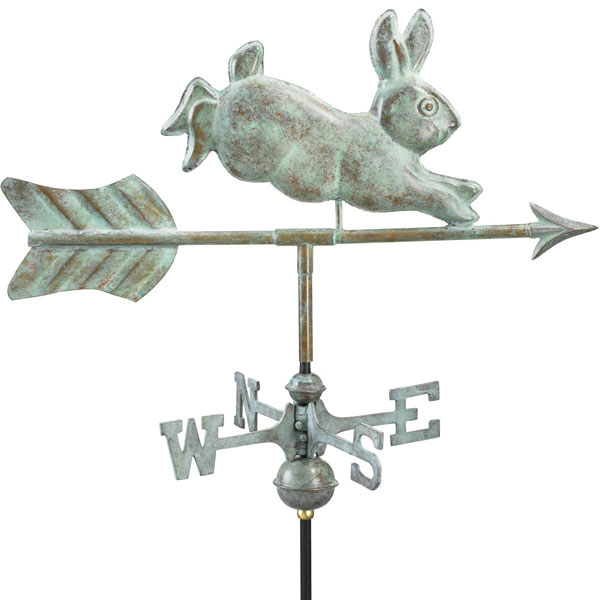 "21""L x 11""W x 25""H Rabbit Weathervane, Blue Verde Copper"