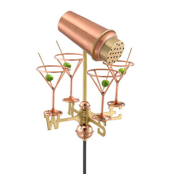 "11""L x 11""W x 24""H Martini w/ Glasses Weathervane, Polished Copper"