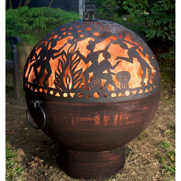"26""W x 31""H Fire Bowl with Full Moon Party Fire Dome"