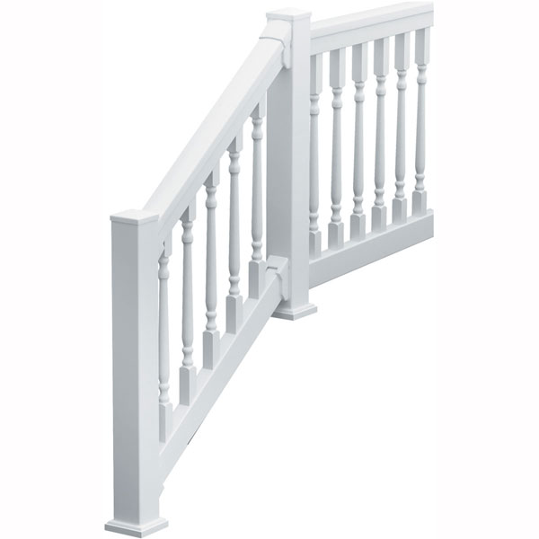 "36""H x 70 1/2""L (3 1/4"" Spindle Spacing) 6' Deluxe QuickRail Straight Kit w/ Colonial Spindles, White"
