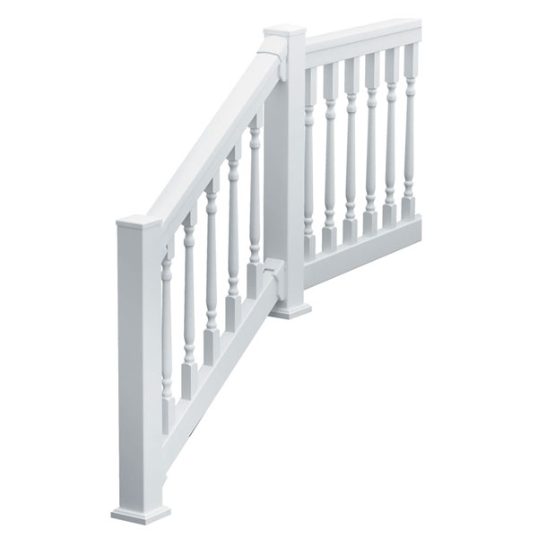"QuickRail Stair Kit with Colonial Spindles, 36""H x 126""L (3 1/8"" Spindle Spacing), White"