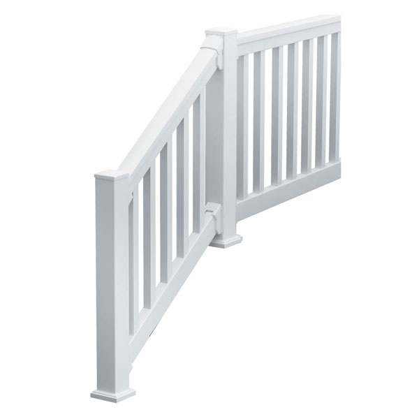 "36""H x 144""L (3 7/8"" Spindle Spacing) 12' Deluxe QuickRail Straight Kit w/ Square Spindles, White"
