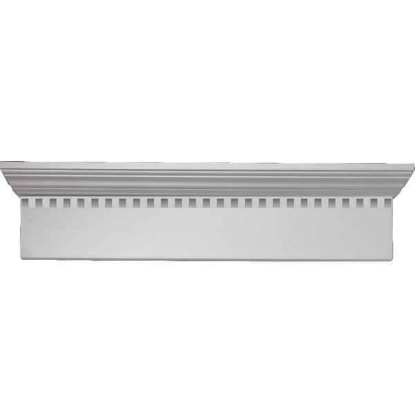 "72""W x 75 1/2""OW x 9""H x 1""P Narrow Crosshead with Dentil Trim"