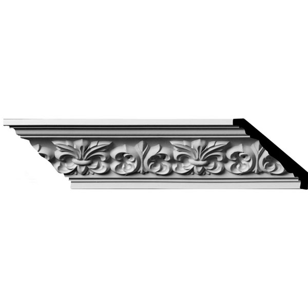 "SAMPLE - 3 1/4""H x 3 1/4""P x 4 3/4""F x 12""L, (5 7/8"" Repeat) Fleur De Lis Crown Moulding"