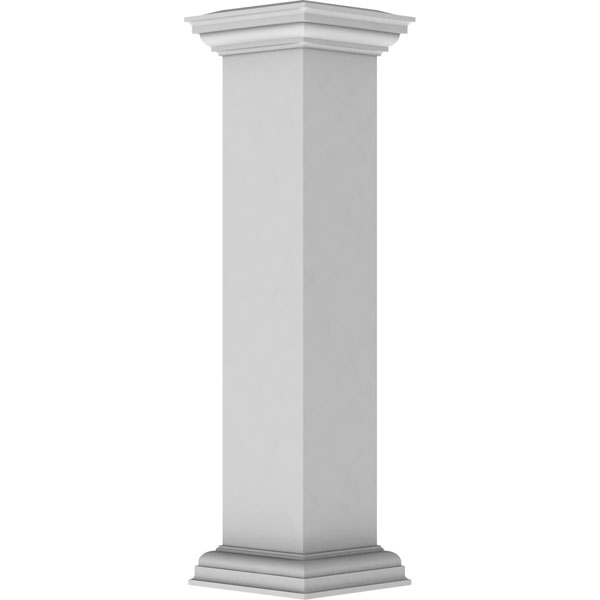 "8""W x 40""H Plain Newel Post with Flat Capital & Base Trim (Installation kit included)"