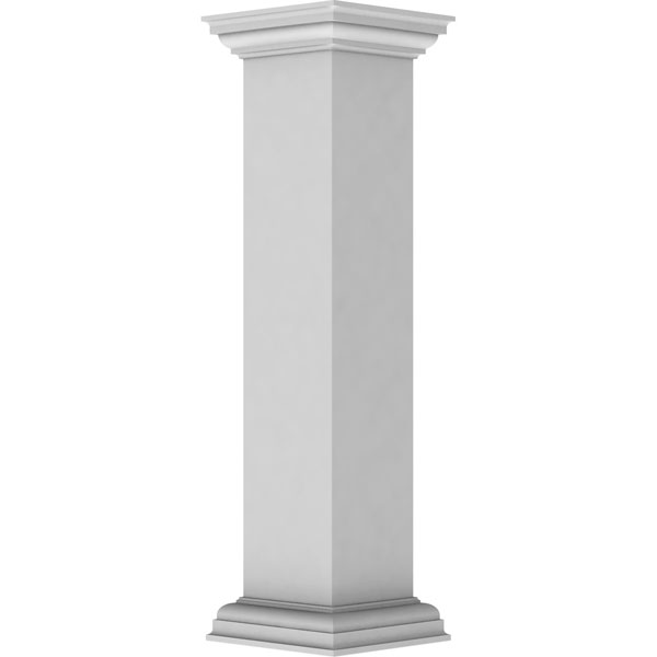 "8""W x 40""H Plain Newel Post with Peaked Capital & Base Trim (Installation kit included)"