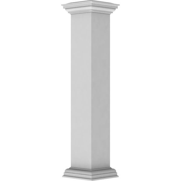"8""W x 48""H Plain Newel Post with Flat Capital & Base Trim (Installation kit included)"