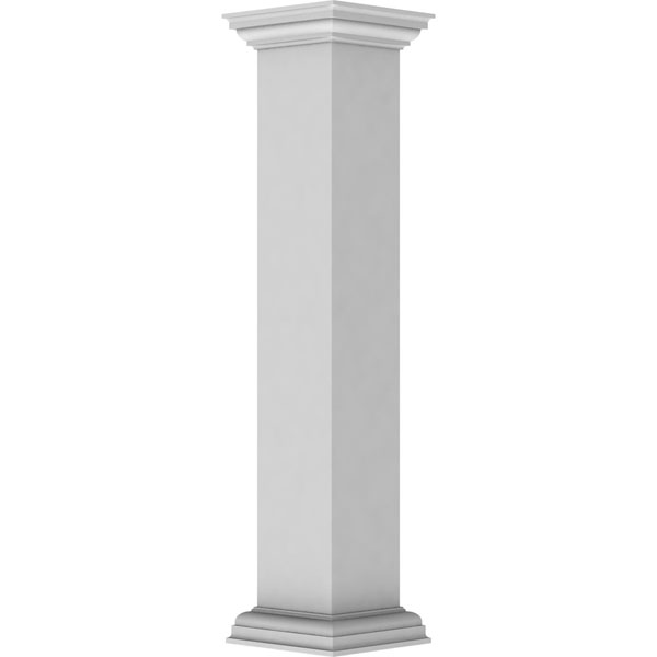 "8""W x 48""H Plain Newel Post with Peaked Capital & Base Trim (Installation kit included)"