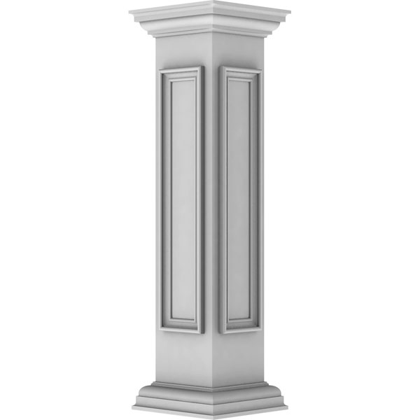 "8""W x 40""H Corner Newel Post with Panel, Peaked Capital & Base Trim (Installation kit included)"