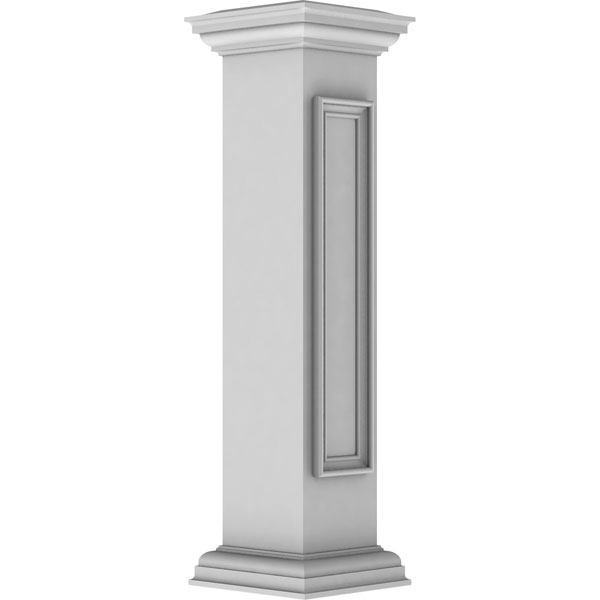 "8""W x 40""H Straight Newel Post with Panel, Flat Capital & Base Trim (Installation kit included)"