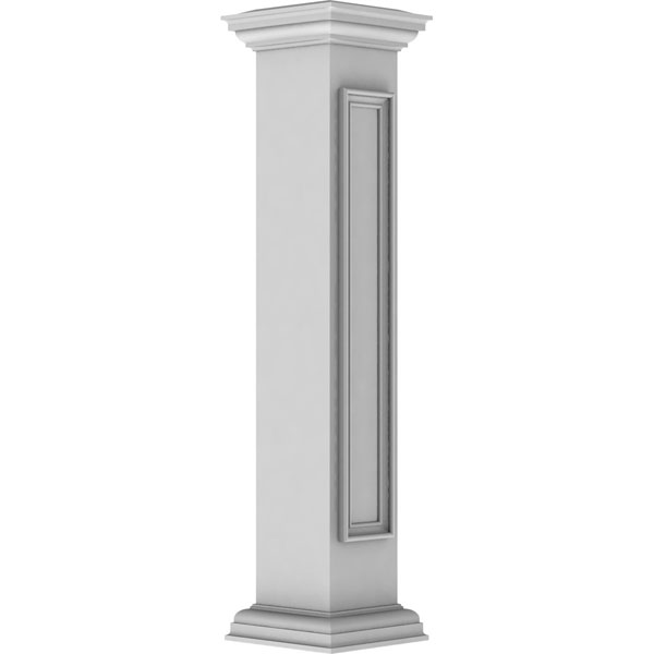 "8""W x 48""H Straight Newel Post with Panel, Flat Capital & Base Trim (Installation kit included)"