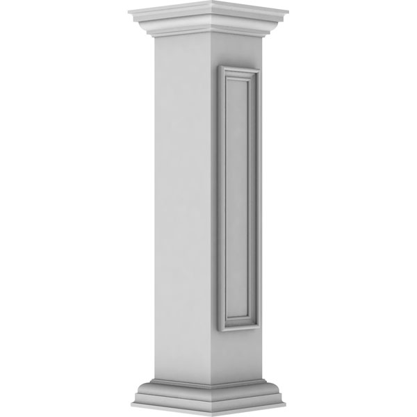 "8""W x 40""H Straight Newel Post with Panel, Peaked Capital & Base Trim (Installation kit included)"