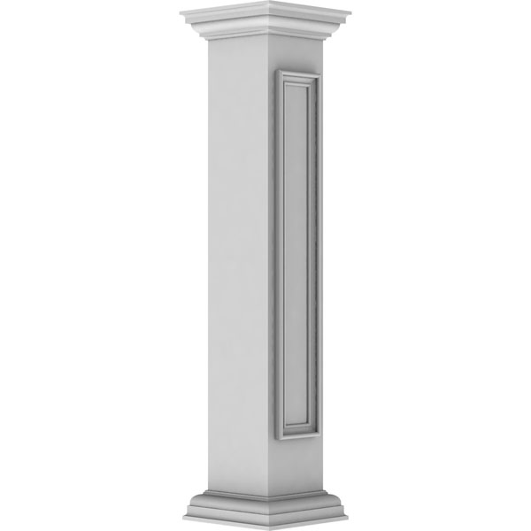 "8""W x 48""H Straight Newel Post with Panel, Peaked Capital & Base Trim (Installation kit included)"