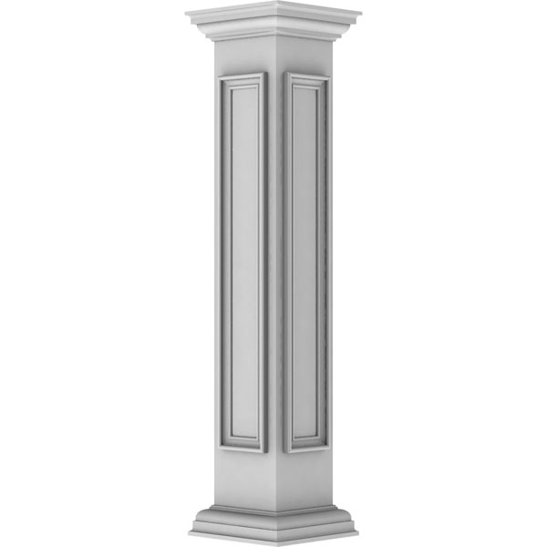 "8""W x 48""H Corner Newel Post with Panel, Peaked Capital & Base Trim (Installation kit included)"
